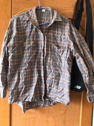 灰格子薄襯衫
