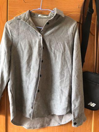 毛呢灰襯衫