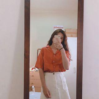 韓版大地土橘色襯衫