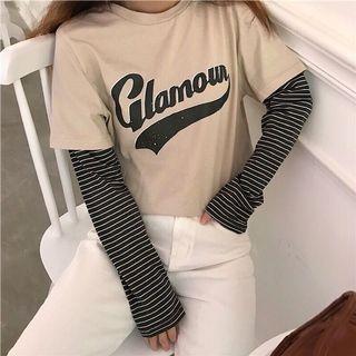 拼接長袖棒球T恤