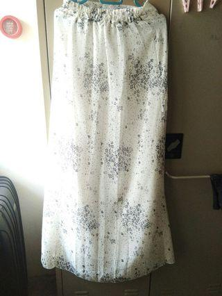 [🆓 Pos] flower White long skirt