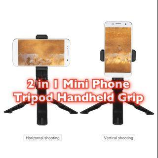 Mini Phone Tripod Stand Handheld Grip Stabilizer with Adjustable Smartphone Clip Holder Bracket