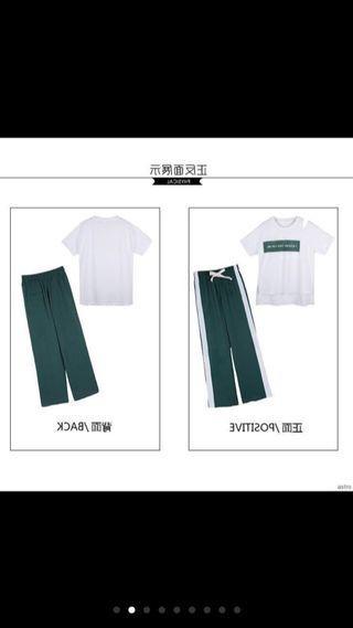Letter print loose t-shirt + split striped pants