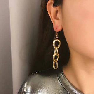 金屬鍊條耳環 金/銀