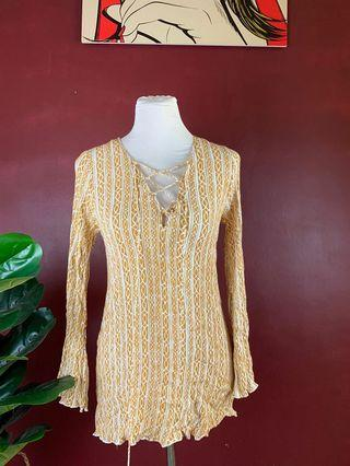 Bell Sleeves Yellow Colored Boho Top