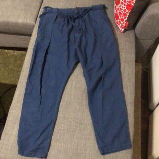 Zara 紡織 棉 長褲 休閒 度假 海灘 風格 深藍