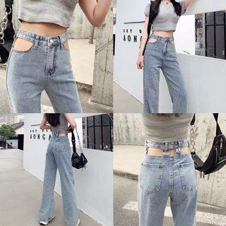 Fashion long blue jeans 2