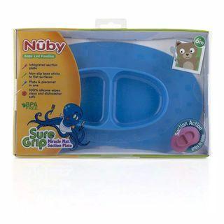 KONDISI BARU!! NUBY Sure Grip Miracle Mat Section Plate Silicone Feeding Plate Warna Biru