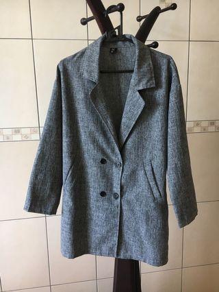 韓系長版薄西裝外套
