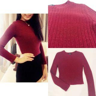 [ALL FOR RM15] Maroon Knitted Long Sleeve Top