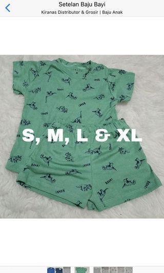 Setelan baju bayi motif dino