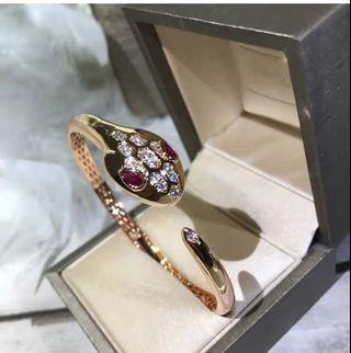 經典玫瑰金 水鑽鑲鑽紅寶石 蛇頭寶格麗款式  網紅女神 手環手鐲 配件飾品