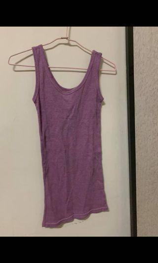 !買一贈一!紫紅色螺紋彈性背心/僅穿過一兩次