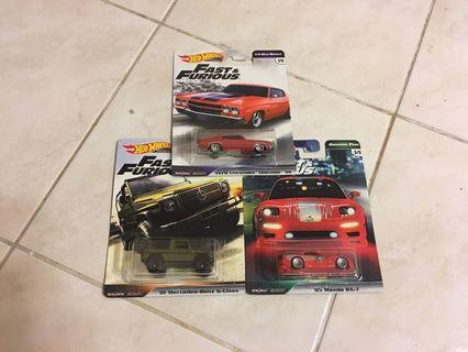 Hot Wheels Fast & Furious Lot of 3 - Chevelle, Mazda RX-7, '91 Mercedes Benz G-Class