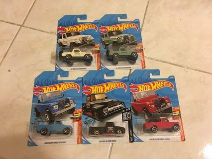 Hot Wheels Lot of 5 - Jeepster Komando, Land Rover Pickup Series III, Custom '56 Ford Truck