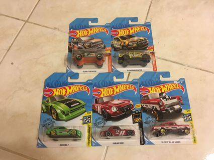 Hot Wheels Lot of 5 - Ford Raptor, Mazda RX7, Nissan Fairlady, Chevy Bel Air Gasser