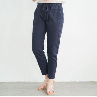 素面鬆緊綁帶休閒褲  深藍色/綠色