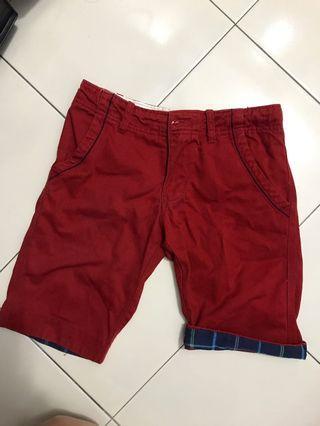 Maroon denim zipper shorts