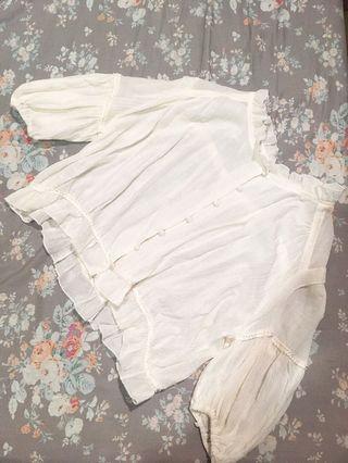 日系荷葉軟絲短版罩衫