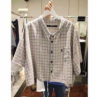 正韓 韓國連線 短版寬袖短袖灰色光澤格紋反光上衣 襯衫 罩衫