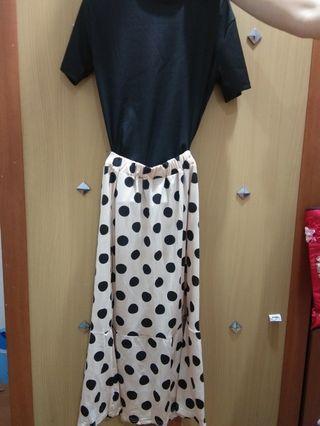 Setel baju hitam polkadot Dress