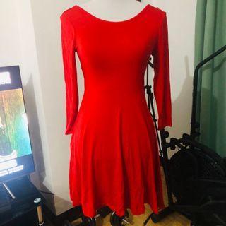Red dress long sleeves skater mini dress