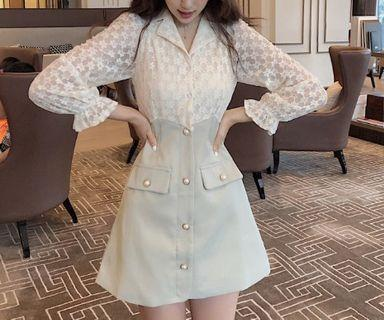 Victorian Style Collar Lace Long Trumpet Sleeve Button Down A Line Dress