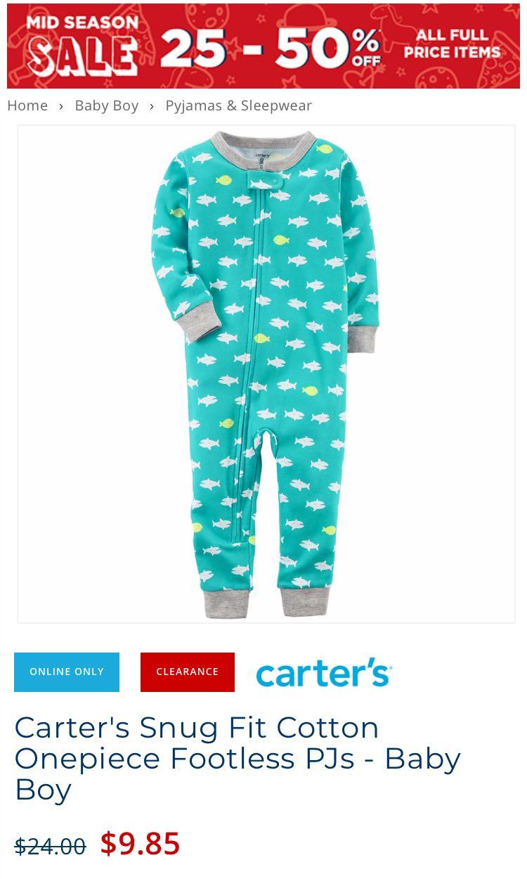 2 x Carter's snug fit baby footless pj's size 24 months