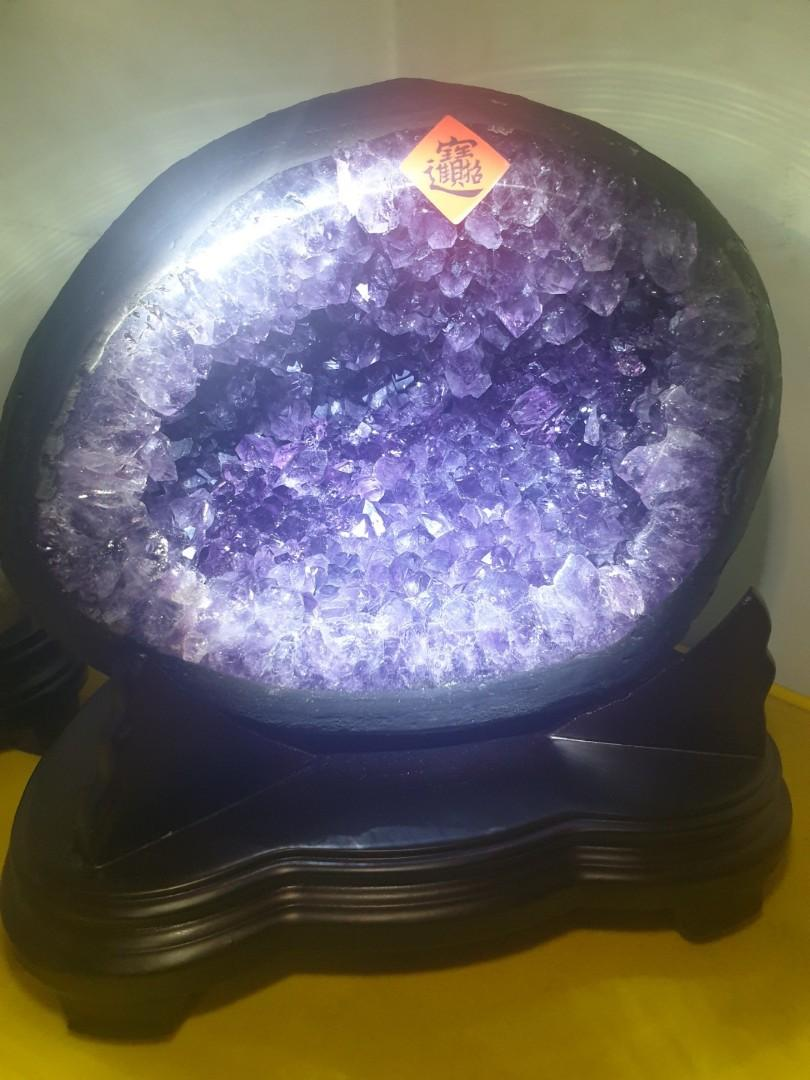 美~烏拉圭紫晶洞大牙晶體指紋鈦金只賣5千!7_4公斤