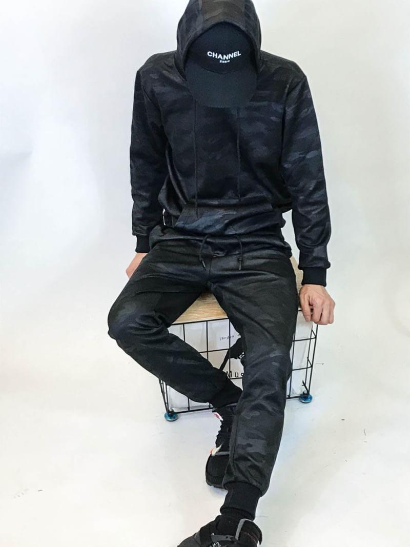 韓國薄款黑迷彩套裝