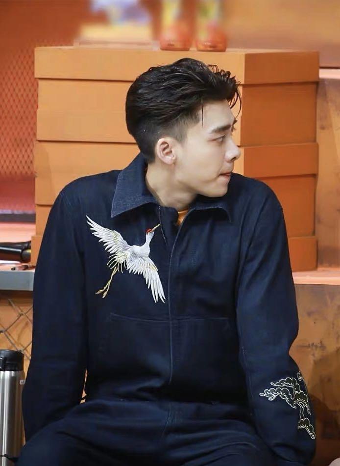 工裝連體褲刺繡仙鶴藍色長袖連體衣套裝寬松顯瘦潮