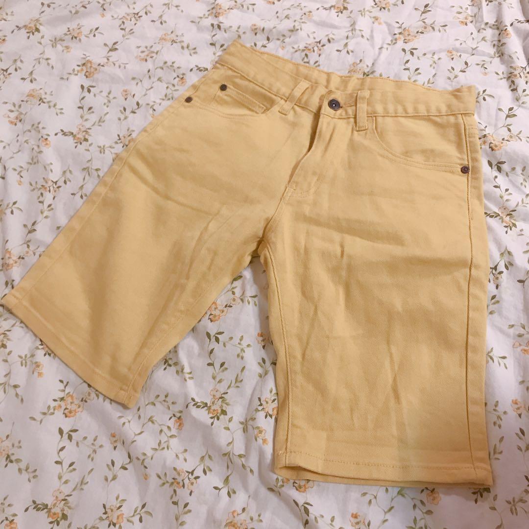 復古黃色五分褲