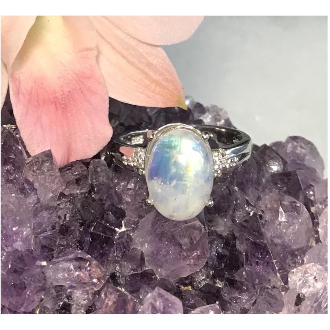 戀人之石~天然月光石藍光戒指 925銀活圍戒托