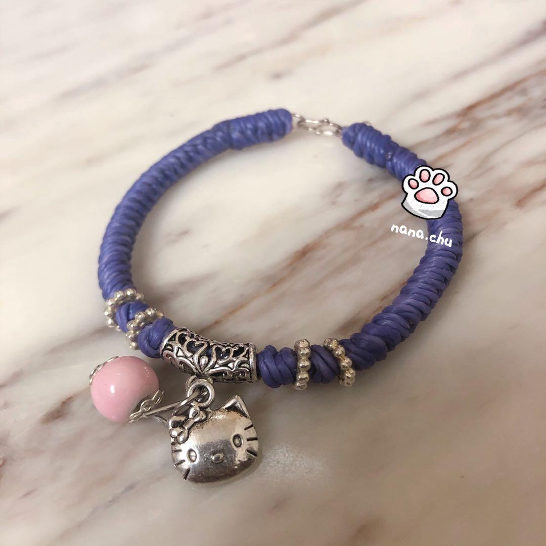 💕 限量 💎 娜式手作 ®  蠶絲蠟線手環 / kitty貓 銀製吊飾 / 浪漫紫