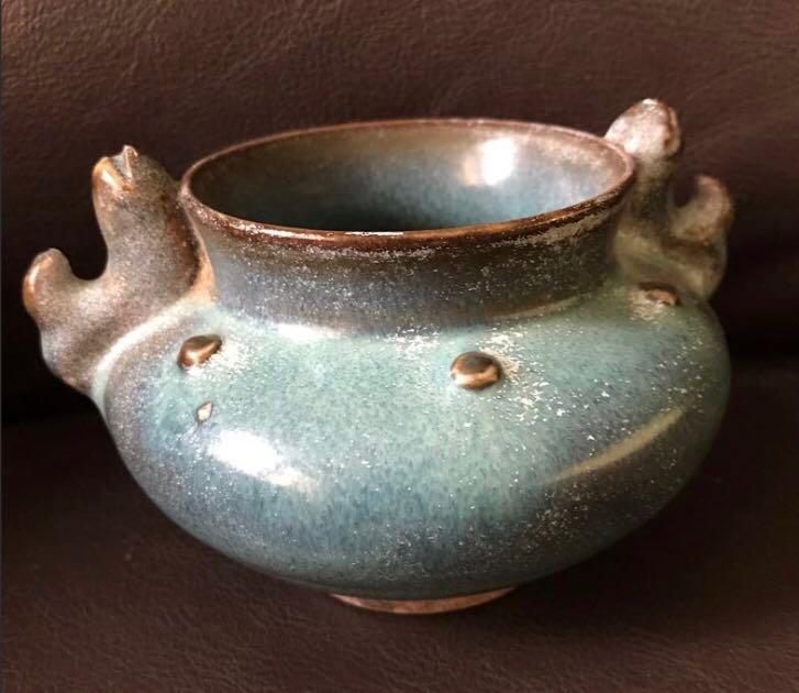 A twin fish ear porcelain incense burner