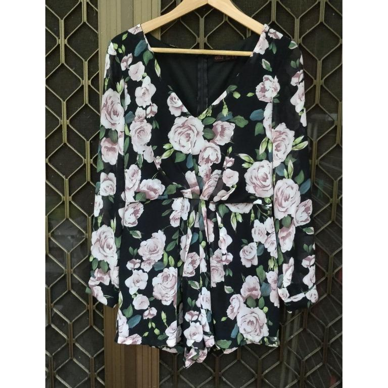 ALLYFASHION Floral Long Sleeve Playsuit Deep V Plunge Neck Shorts One Piece Chiffon Flowy Sleeves