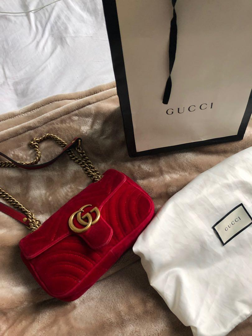 PRICE DROP: Authentic Red Velvet Gucci Marmont Mini