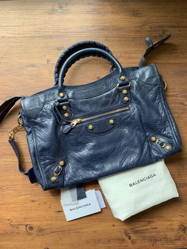 Bag Navy blue with Gold Hardware
