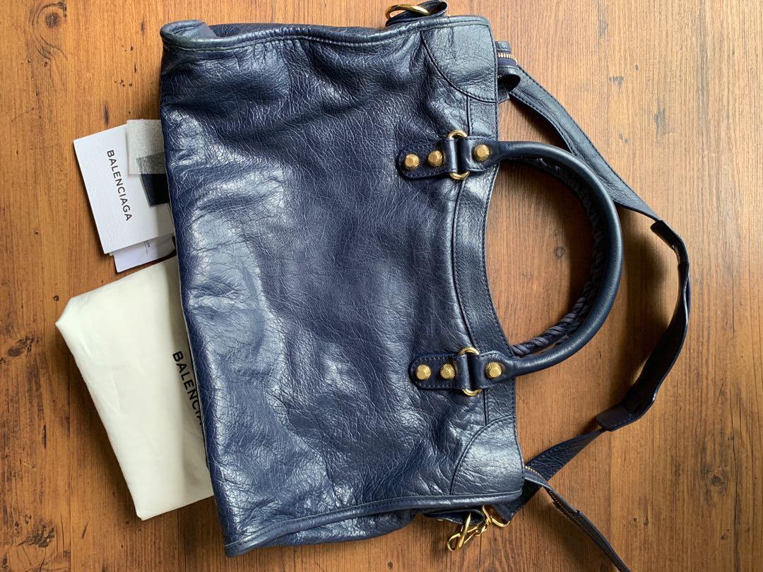 Balenciaga City Bag Navy blue with Gold Hardware