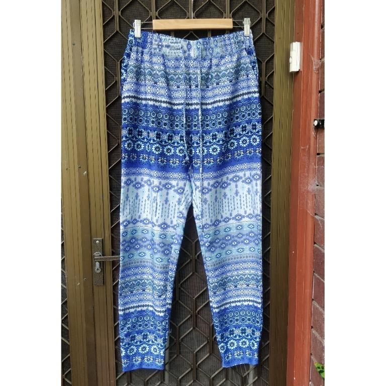 Blue Patterned Gypsy Pants Tapered Boho Festival Beach Trousers Bohemian Harem Princess Polly Esther Boutique Runaway Boohoo