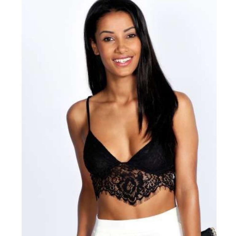 BOOHOO Black Lace Scalloped Bralette Sheer Lacey Bra Bralet Crop Top Missguided Meshki Beginning Boutique