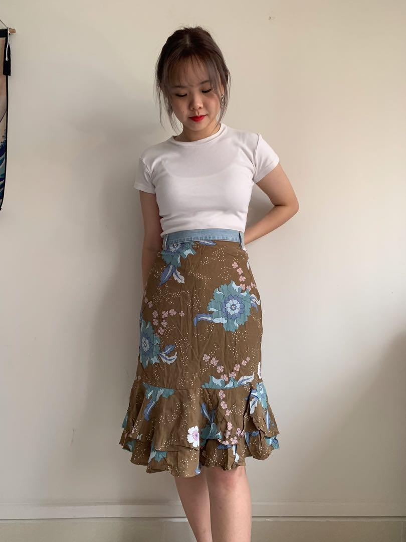 brown floral layered skirt