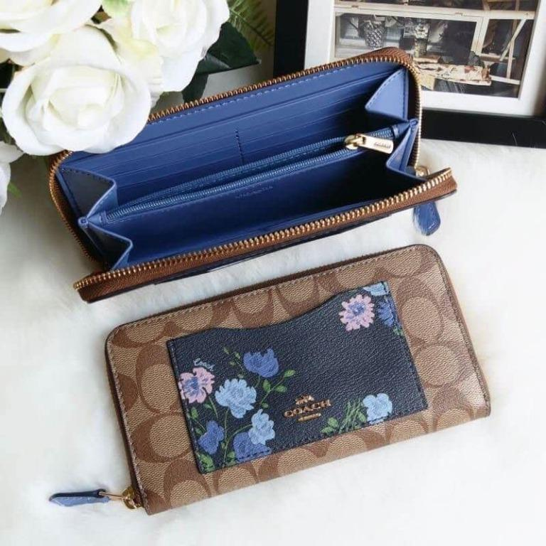 COACH ACCORDION ZIP WALLET IN SIGNATURE CANVAS WITH PAINTED PEONY PRINT POCKET (COACH F73011) NAVY MULTI/IMITATION GOLD