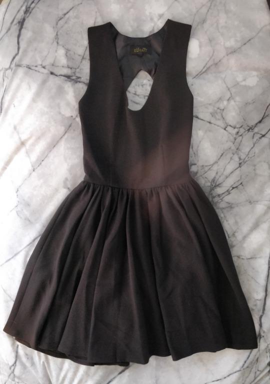 ELLIATT Night Cat Dress Black Open Back Skater Dress Fit And Flare Sheike Kookai Cue Pasduchas Keepsake