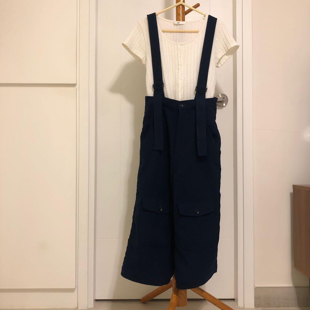 initial 深藍色吊帶褲