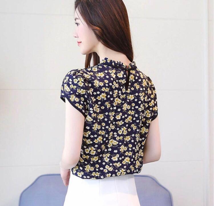 Korean Style Chiffon Floral Top