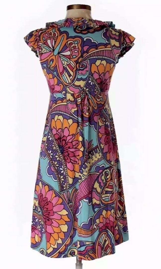Lilly Pulitzer Dress Silk Ruffle Neckline Midi NEW
