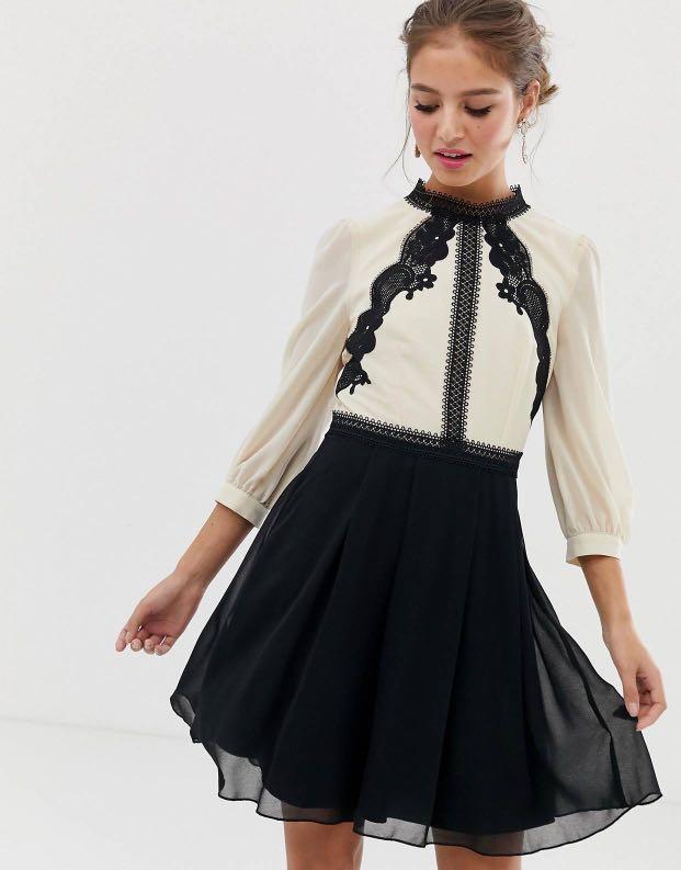 Little  Little Mistress Contrast Lace Detail Skater Dress In Multi
