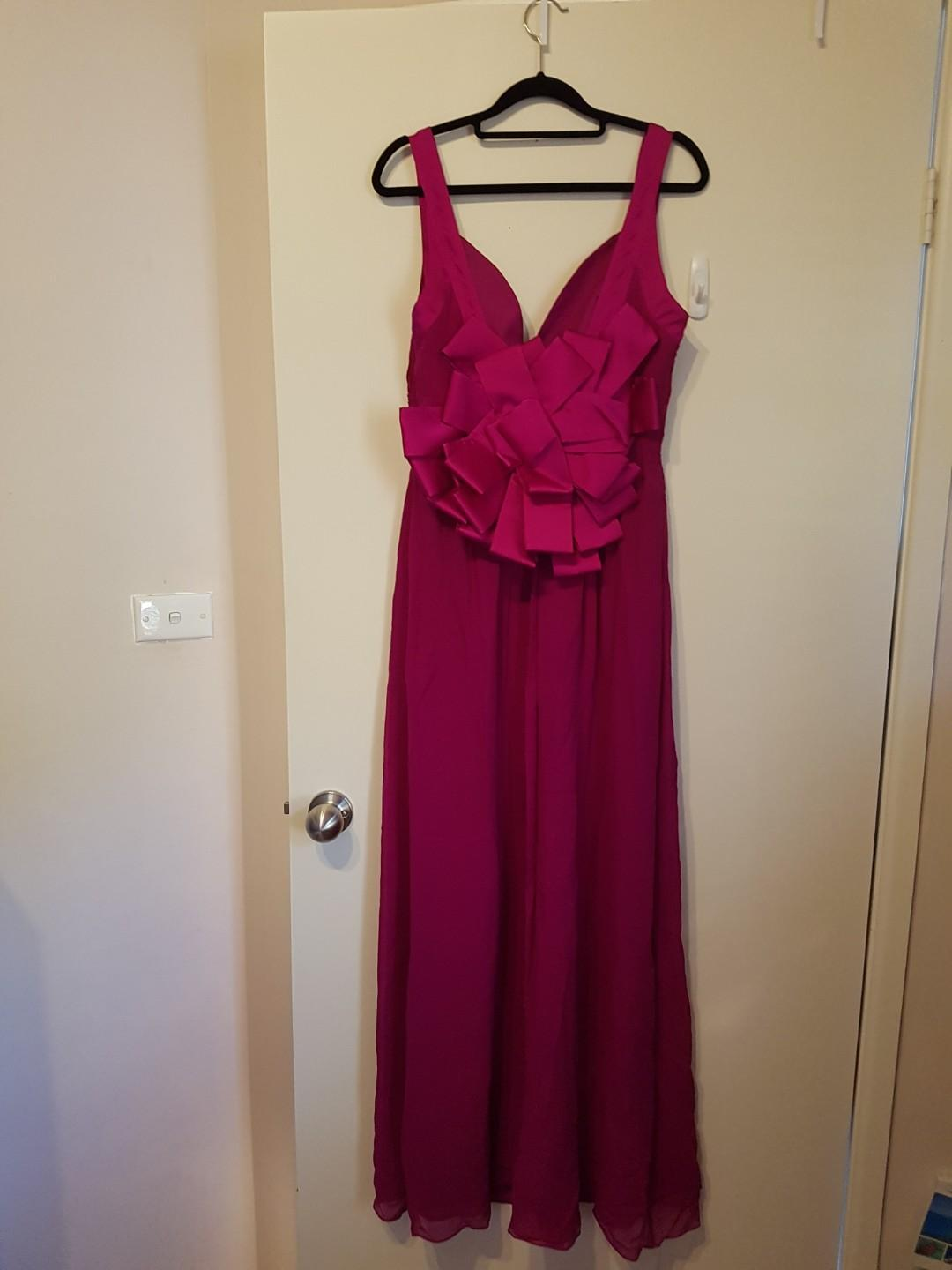Magenta formal full-length dress with statement bow! (Unworn)