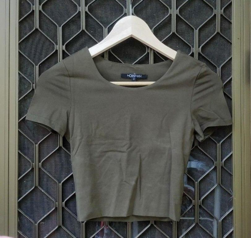 MOSSMAN Khaki Crop Top Double Layer Cotton Short Sleeve Cropped Shirt Olive Army Kookai Cue Dotti Forever New